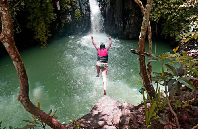 Exciting Cliff Jumping at Kroya Waterfall