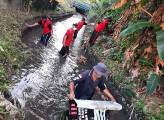 Tim Sungai dan Tim Katak Desa Sumerta Kelod Bersihkan Saluran Tukad Lobong